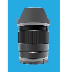 Camera lens on blue vector