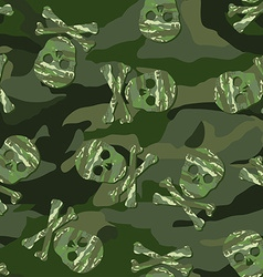 Camouflage skull in a seamless pattern vector image vector image