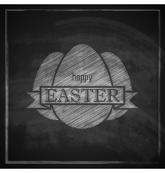 chalk easter with eggs and ribbon on blackboard vector image