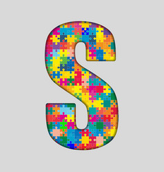 Color Puzzle Piece Jigsaw Letter - S vector image