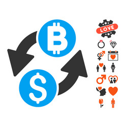 Dollar bitcoin exchange icon with love bonus vector