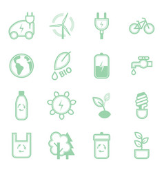 eco concept green thin line icon set vector image vector image