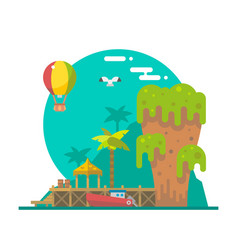 Flat design of Tapu island at Phang nga Thailand vector image