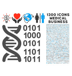 Genome icon with 1300 medical business icons vector
