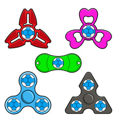 Hand spinner toys with handball ball flat vector