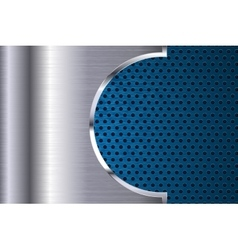 Metal background with blue perforation vector image vector image