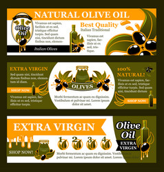 Natural olive oil product banner set food design vector