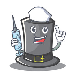 Nurse thanksgiving hat character cartoon vector