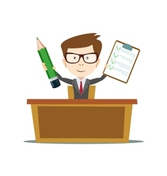 office worker sitting at the table and work vector image
