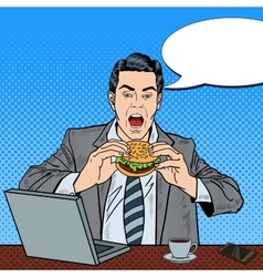 Pop Art Business Man Eating Tasty Burger at Work vector image vector image