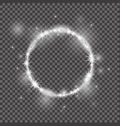 round frame 2018 white glittering star vector image vector image