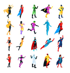 set of isometric superheroes vector image vector image