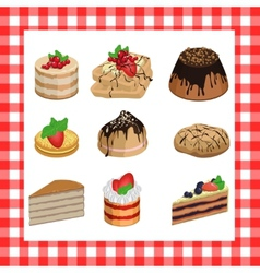 Set of sweet appetizing cakes on a red plaid vector