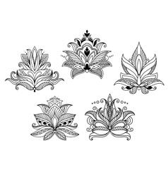 Vintage floral paisley elements vector