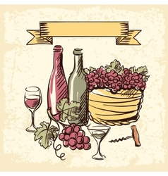 Wine vintage hand drawn vector