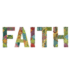 Word faith decorative zentangle object vector