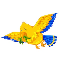 Yellow bird eating little worms vector image