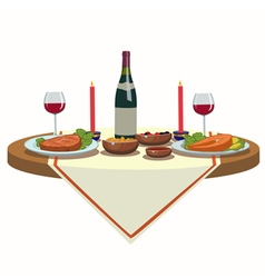 Holiday table with wine and and delicious food vector
