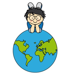 Boywith a globe vector