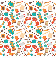 cooking utensils background cute seamless pattern vector image