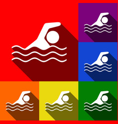 Swimming water sport sign  set of icons vector