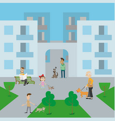 people walk their dogs in the yard vector image