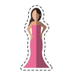 Cartoon women day girl model fashion dress vector