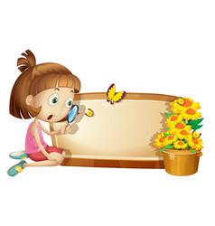 Frame template with girl and flower vector