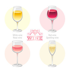 Wine alcohol drink glasses types icon set - red vector