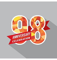 98th years anniversary celebration design vector