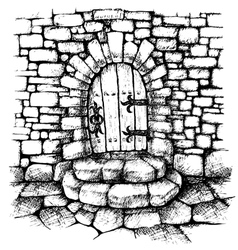 Arched door in a stone wall  scatch vector