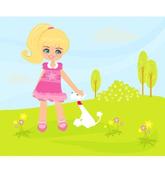 Sweet girl and her puppy in the park vector