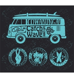 Set of vintage surfing graphics and emblems vector