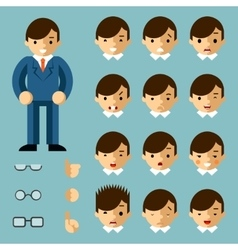 Businessman cartoon emotions vector