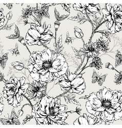 Summer monochrome vintage floral seamless pattern vector