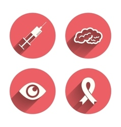 Medicine icons syringe eye brain and ribbon vector