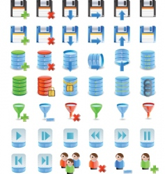 Database details icon set vector