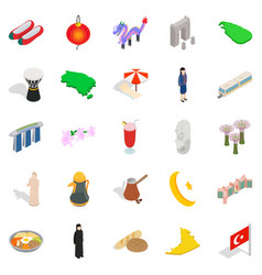 asian vacation spot icons set isometric style vector image vector image
