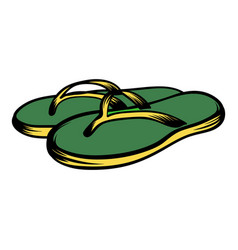 beach green thongs icon cartoon vector image