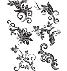 Black and white floral icon set vector