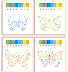 butterfly coloring vector image vector image
