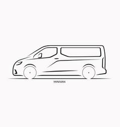Car silhouette side view of minivan vector