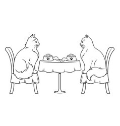 cats on date in restaurant coloring book vector image