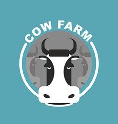 Cow farm logo head of a cow emblem sign for farm vector