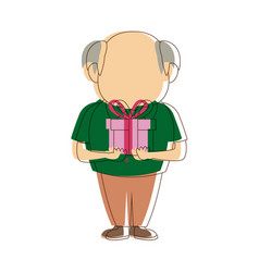 Cute granfather with gift box surprise image vector