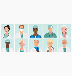 doctors and nurses avatars set medical staff vector image vector image