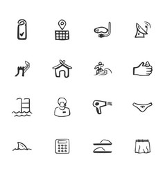 Doodle travel icon set vector