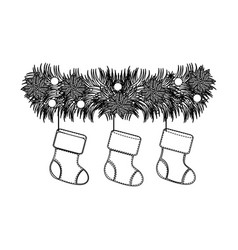 figure fir with christmas boots icon vector image
