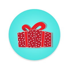 Flat long shadow gift box icon isolate vector image