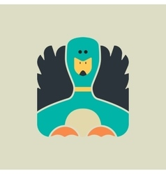 Flat square icon of a cute duck vector
